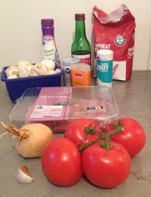 Hamlapjes met Tomaten en Champignons in Wijnsaus ingrediënten