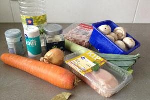 ingredienten Rijst met Kip, Champignons en Prei