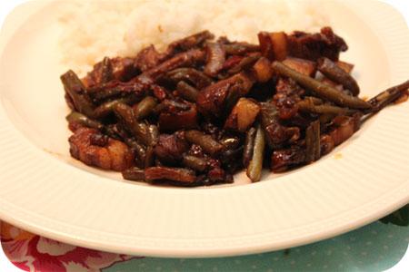 Rijst met Sperziebonen en Speklapjes
