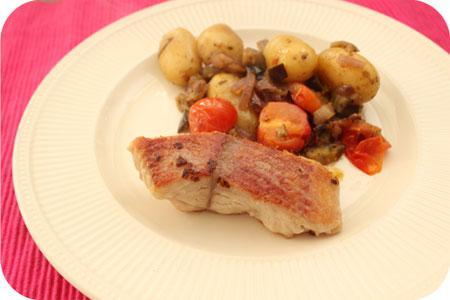 HelloFresh dag 1: Gebakken Meerval met Aardappel-Groentenschotel