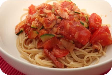 Spaghetti met Courgette en Tomaten