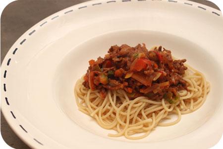 Spaghetti met Gehakt en Gemengde Groenten