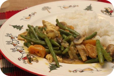Rijst met Kip, Sperziebonen en Abrikoos