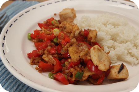 Rijst met Kip en Paprika in Sojasaus