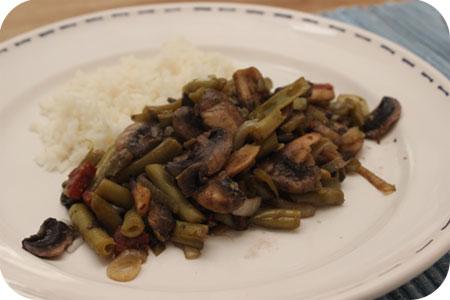 Rijst met Sperziebonen, Champignons en Chorizo