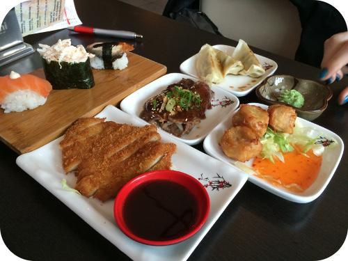 Nakoyashi in Veenendaal smoked salmon, maguro, unagi, donkatsu, usuyaki, siumai, gyoza,