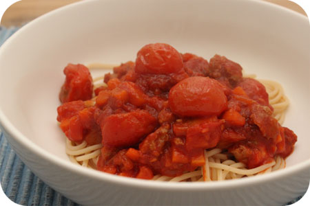 Spaghetti met Worstjes en Tomatensaus