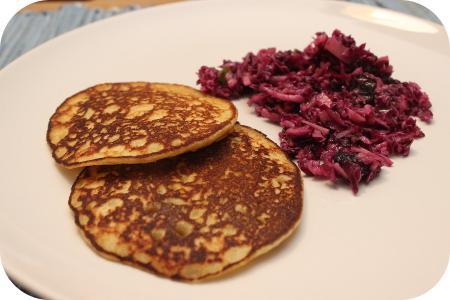 Aardappelpannenkoekjes met Rode Koolsalade