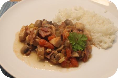 Rijst met Kipfilet, Champignons en Worteltjes