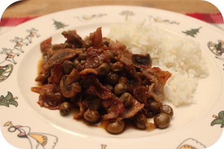 Rijst met Kapucijners, Appel en Champignons