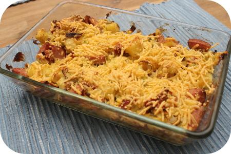 Aardappel Prei Ovenschotel met Rookworst