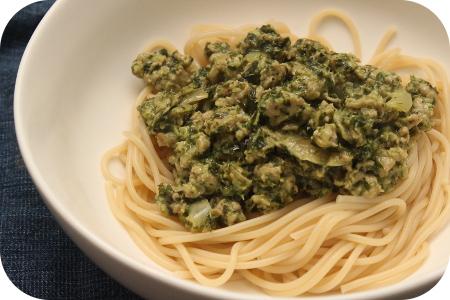 Spaghetti met Boerenkool en Worst in Mosterdroomsaus
