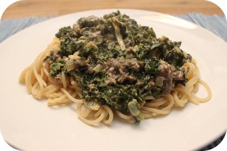 Spaghetti met Boerenkool en Runderworstjes in Mosterd-Honing Saus