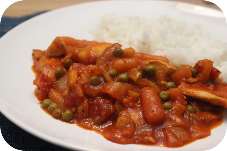 Rijst met Kip Curry en Doperwtjes