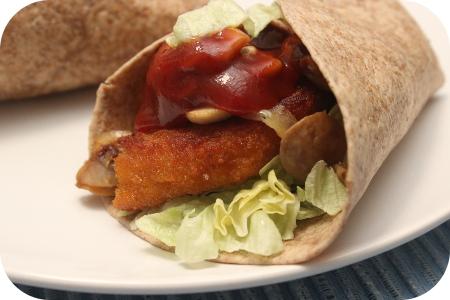 Wraps met Kipschnitzel en Zoetzure Saus