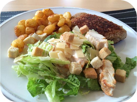 Gehakt Cordon Bleu met Kip Ceasar Salade