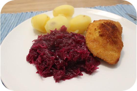 Rode Kool met Kaasschnitzels