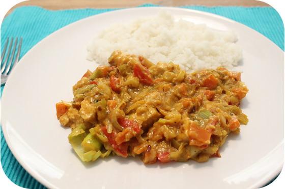 Rijst met Kip, Paprika en Prei in Korma Saus
