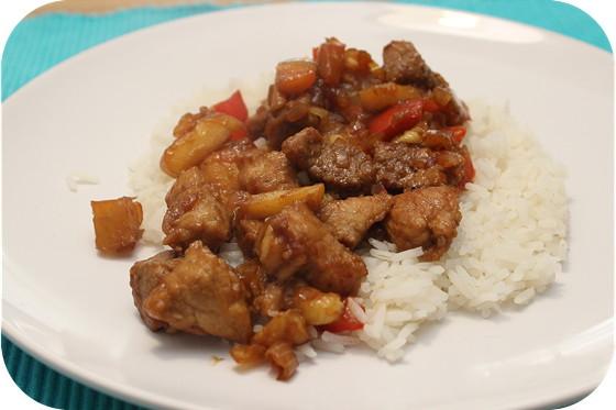 Rijst met Hamlapje, Paprika, Appel en Banaan