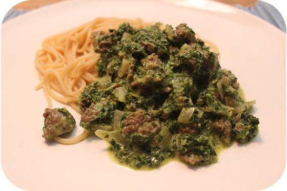 Spaghetti met Boerenkool en Braadworst