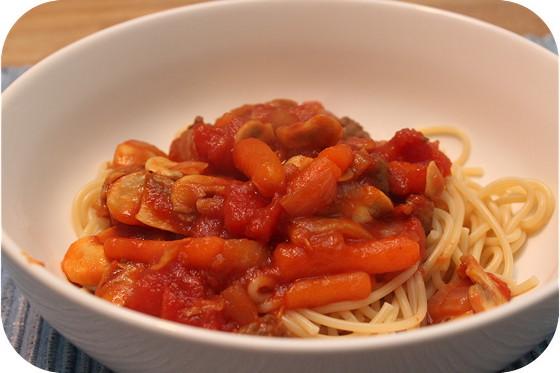 Spaghetti met Worst, Champignons en Wortels