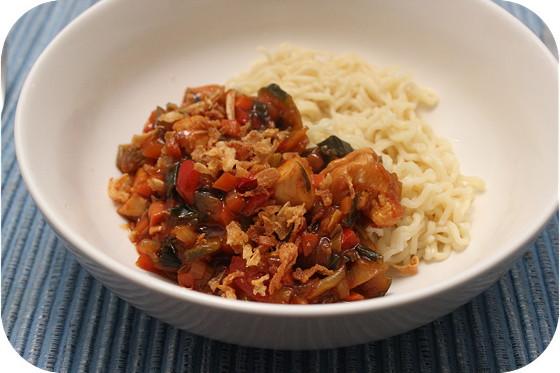 Noodles met Kipfilet en Italiaanse Groente