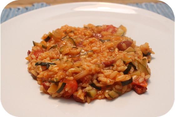 Risotto met Courgette en Chorizo