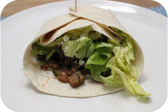 Vegetarische Wraps met Courgette en Champignons