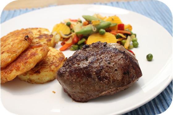 Biefstuk met Röstirondjes en Wokgroenten