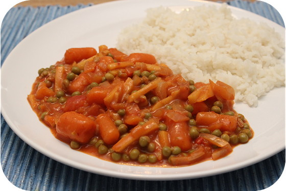 Vegetarische Curry met Doperwten, Wortelen en Appel