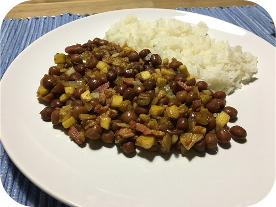 Rijst met Kapucijners, Appel en Spek