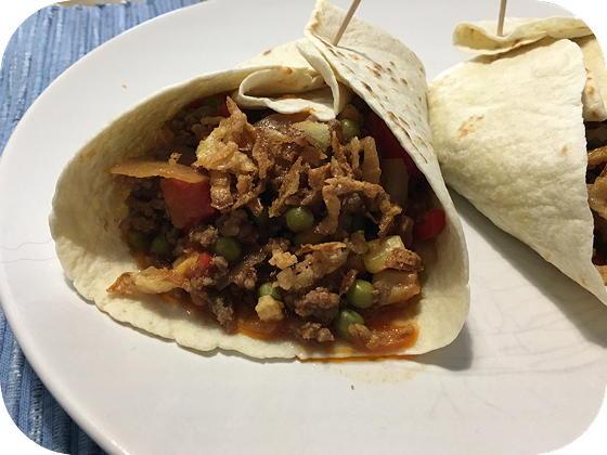 Wraps met Gehakt, Zoete Paprika en Mais