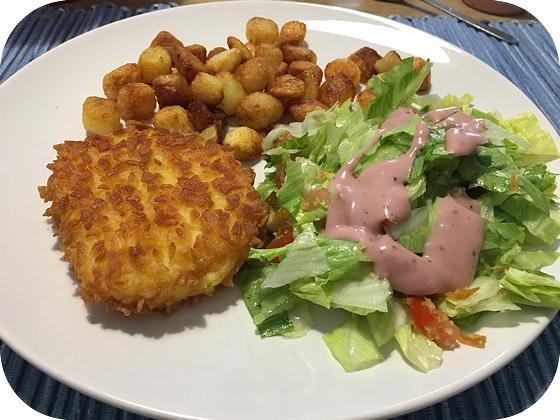 Salade met Kaasschnitzels