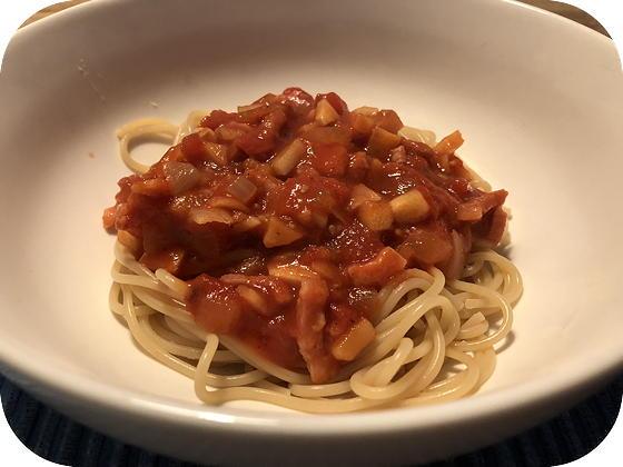 Spaghetti met Pastinaak, Tomaat en Ontbijtspek