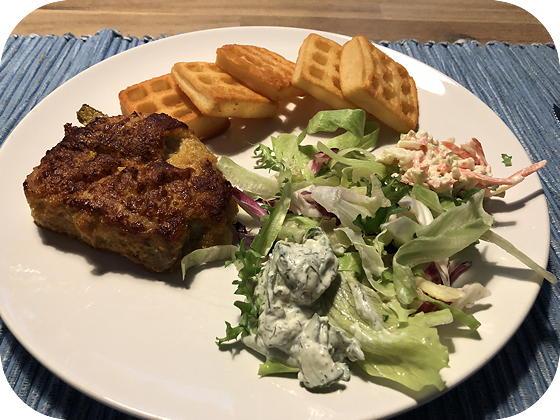 Cordon Blue met Aardappelwafels en Salade