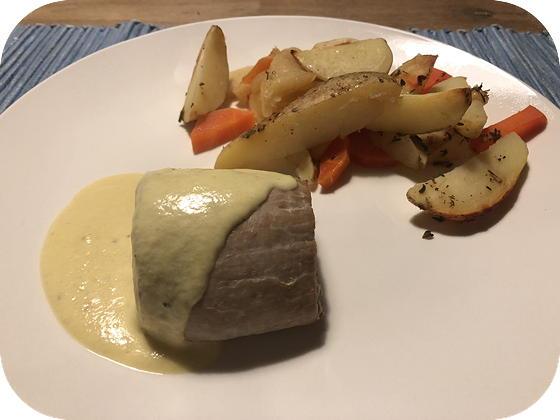 Varkenshaas in Mosterdsaus met Pastinaak en Wortel uit de Oven