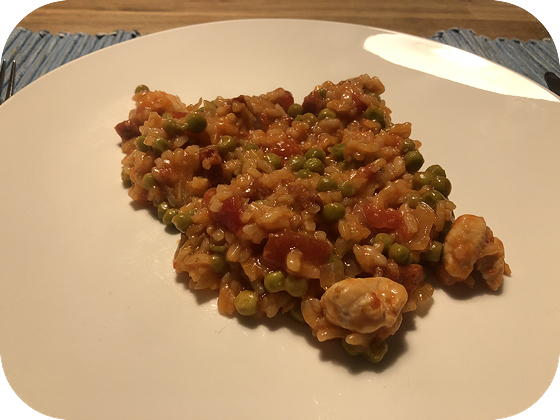 Risotto met Kip, Chorizo, Tomaat en Doperwten