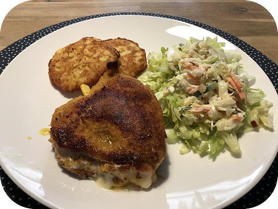 Cordon Bleu met Salade en Röstirondjes