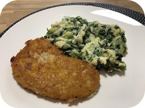 Andijvie met Vegetarische Krokante Kipschnitzels