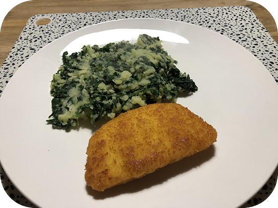 Spinaziestamppot met Kaasschnitzel