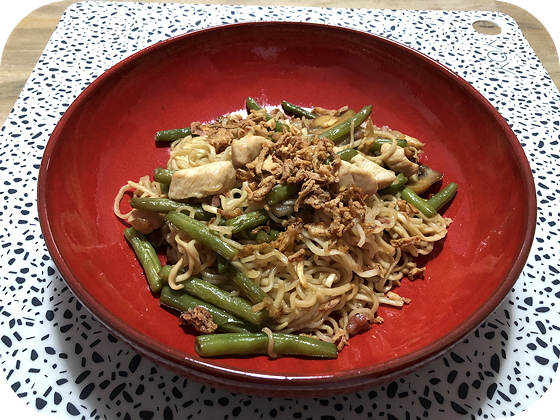 Noodles met Kip, Sperziebonen en Champignons