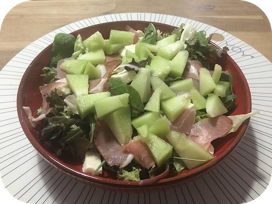 Salade met Meloen, Mozzarella en Rauwe Ham