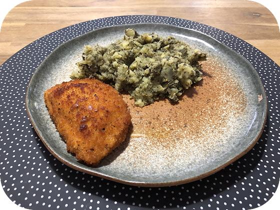 Boerenkoolstamppot met Vegetarische Satéschnitzel