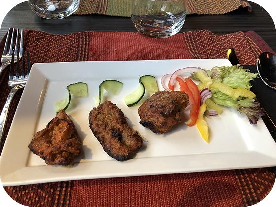 Thali's bij Namastey India Veenendaal boti kebab