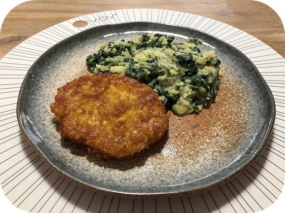 Spinazie met Krokante Kipschnitzels