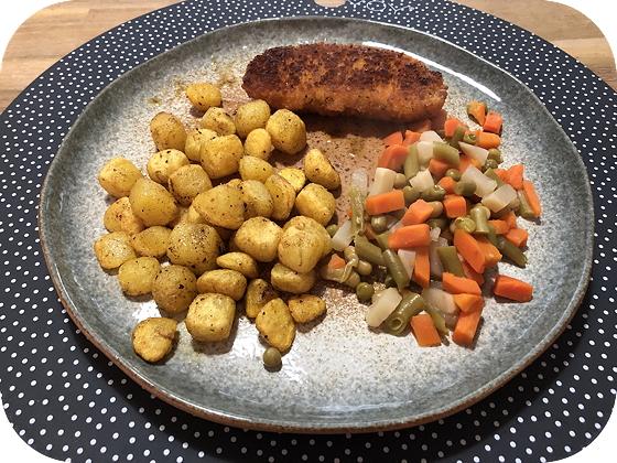 Vega Satéschnitzel met Krieltjes en Bonenmix