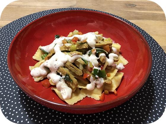 Vegetarische Kipshoarma met Pasta