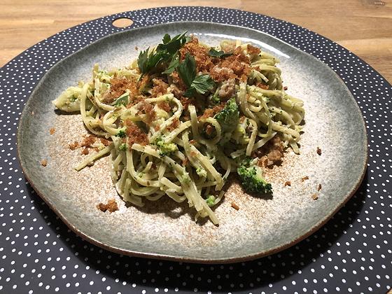 Tagliolini met Broccoli, Ricotta en Braadworst