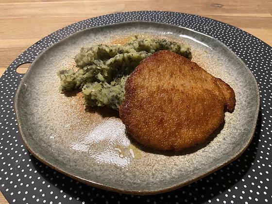 Boerenkoolstamppot met Duitse Schnitzel