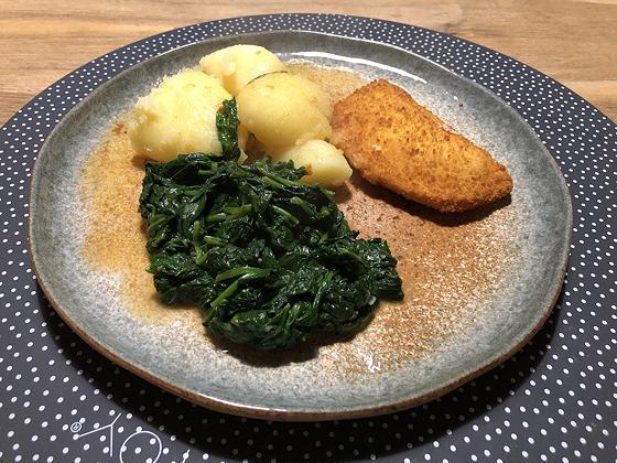 Spinazie met Aardappeltjes en Kaasschnitzels